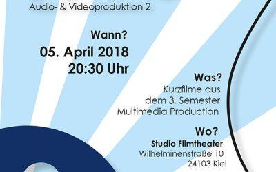 Kurzfilme des 4. Semesters Multimedia-Produktion der FH Kiel im Studio-Filmtheater